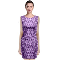 HEXAGON1 WHITE MARBLE & PURPLE DENIM Classic Sleeveless Midi Dress