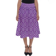 HEXAGON1 WHITE MARBLE & PURPLE DENIM Perfect Length Midi Skirt