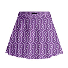 HEXAGON1 WHITE MARBLE & PURPLE DENIM Mini Flare Skirt