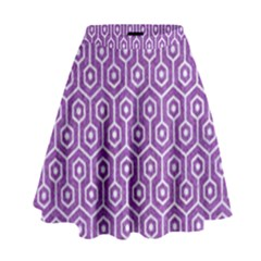 HEXAGON1 WHITE MARBLE & PURPLE DENIM High Waist Skirt