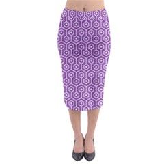 HEXAGON1 WHITE MARBLE & PURPLE DENIM Midi Pencil Skirt