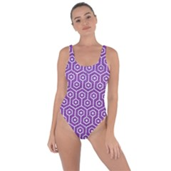 HEXAGON1 WHITE MARBLE & PURPLE DENIM Bring Sexy Back Swimsuit