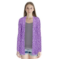 HEXAGON1 WHITE MARBLE & PURPLE DENIM Drape Collar Cardigan