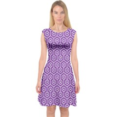 HEXAGON1 WHITE MARBLE & PURPLE DENIM Capsleeve Midi Dress