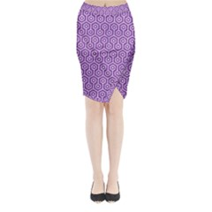 HEXAGON1 WHITE MARBLE & PURPLE DENIM Midi Wrap Pencil Skirt