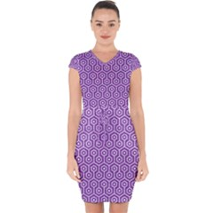 HEXAGON1 WHITE MARBLE & PURPLE DENIM Capsleeve Drawstring Dress