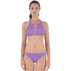 HEXAGON1 WHITE MARBLE & PURPLE DENIM Perfectly Cut Out Bikini Set
