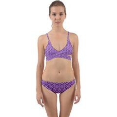 HEXAGON1 WHITE MARBLE & PURPLE DENIM Wrap Around Bikini Set