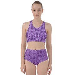 HEXAGON1 WHITE MARBLE & PURPLE DENIM Racer Back Bikini Set