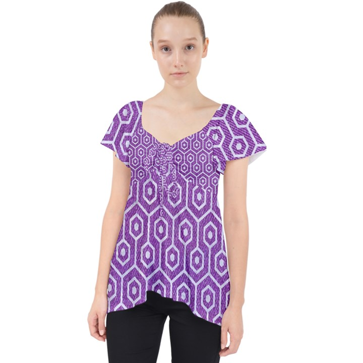 HEXAGON1 WHITE MARBLE & PURPLE DENIM Lace Front Dolly Top