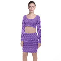 HEXAGON1 WHITE MARBLE & PURPLE DENIM Long Sleeve Crop Top & Bodycon Skirt Set
