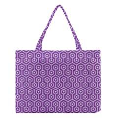HEXAGON1 WHITE MARBLE & PURPLE DENIM Medium Tote Bag