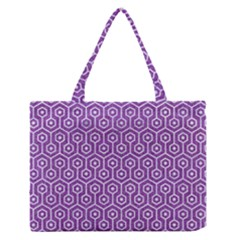HEXAGON1 WHITE MARBLE & PURPLE DENIM Zipper Medium Tote Bag