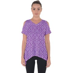 HEXAGON1 WHITE MARBLE & PURPLE DENIM Cut Out Side Drop Tee