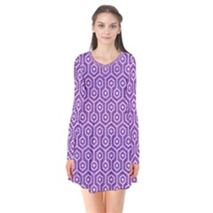 HEXAGON1 WHITE MARBLE & PURPLE DENIM Flare Dress