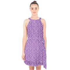 HEXAGON1 WHITE MARBLE & PURPLE DENIM Halter Collar Waist Tie Chiffon Dress