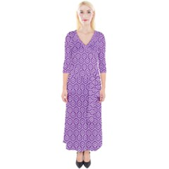 HEXAGON1 WHITE MARBLE & PURPLE DENIM Quarter Sleeve Wrap Maxi Dress