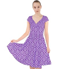 HEXAGON1 WHITE MARBLE & PURPLE DENIM Cap Sleeve Front Wrap Midi Dress