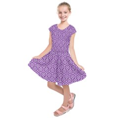 HEXAGON1 WHITE MARBLE & PURPLE DENIM Kids  Short Sleeve Dress