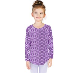 HEXAGON1 WHITE MARBLE & PURPLE DENIM Kids  Long Sleeve Tee