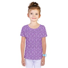 HEXAGON1 WHITE MARBLE & PURPLE DENIM Kids  One Piece Tee