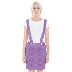 HEXAGON1 WHITE MARBLE & PURPLE DENIM Braces Suspender Skirt