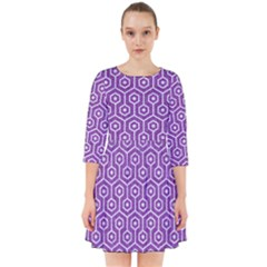 HEXAGON1 WHITE MARBLE & PURPLE DENIM Smock Dress