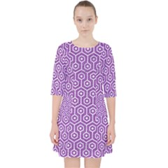 HEXAGON1 WHITE MARBLE & PURPLE DENIM Pocket Dress