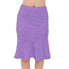 HEXAGON1 WHITE MARBLE & PURPLE DENIM Mermaid Skirt