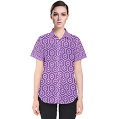 HEXAGON1 WHITE MARBLE & PURPLE DENIM Women s Short Sleeve Shirt