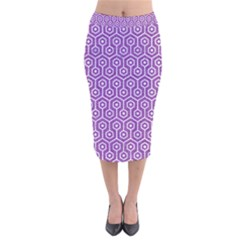 HEXAGON1 WHITE MARBLE & PURPLE DENIM Velvet Midi Pencil Skirt