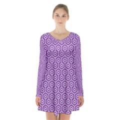 HEXAGON1 WHITE MARBLE & PURPLE DENIM Long Sleeve Velvet V-neck Dress