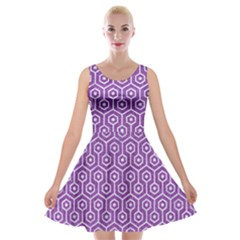 Hexagon1 White Marble & Purple Denim Velvet Skater Dress