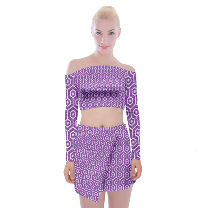 HEXAGON1 WHITE MARBLE & PURPLE DENIM Off Shoulder Top with Mini Skirt Set