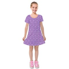 HEXAGON1 WHITE MARBLE & PURPLE DENIM Kids  Short Sleeve Velvet Dress