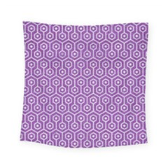HEXAGON1 WHITE MARBLE & PURPLE DENIM Square Tapestry (Small)