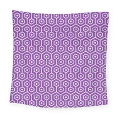 HEXAGON1 WHITE MARBLE & PURPLE DENIM Square Tapestry (Large)