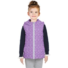 Hexagon1 White Marble & Purple Denim Kid s Hooded Puffer Vest by trendistuff