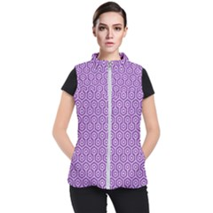 HEXAGON1 WHITE MARBLE & PURPLE DENIM Women s Puffer Vest