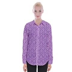 HEXAGON1 WHITE MARBLE & PURPLE DENIM Womens Long Sleeve Shirt