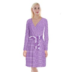 HEXAGON1 WHITE MARBLE & PURPLE DENIM Long Sleeve Velvet Front Wrap Dress
