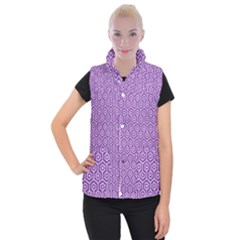 HEXAGON1 WHITE MARBLE & PURPLE DENIM Women s Button Up Vest
