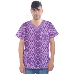 Hexagon1 White Marble & Purple Denim Men s V Neck Scrub Top by trendistuff