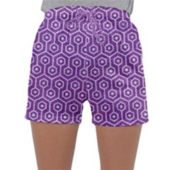 HEXAGON1 WHITE MARBLE & PURPLE DENIM Sleepwear Shorts