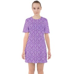HEXAGON1 WHITE MARBLE & PURPLE DENIM Sixties Short Sleeve Mini Dress
