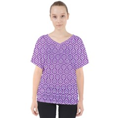 HEXAGON1 WHITE MARBLE & PURPLE DENIM V-Neck Dolman Drape Top