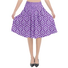 HEXAGON1 WHITE MARBLE & PURPLE DENIM Flared Midi Skirt