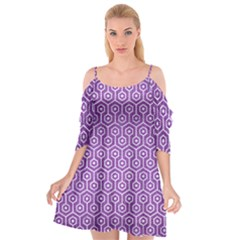 HEXAGON1 WHITE MARBLE & PURPLE DENIM Cutout Spaghetti Strap Chiffon Dress