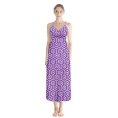 HEXAGON1 WHITE MARBLE & PURPLE DENIM Button Up Chiffon Maxi Dress