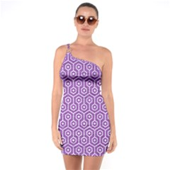 HEXAGON1 WHITE MARBLE & PURPLE DENIM One Soulder Bodycon Dress